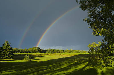 Double Rainbow Over Fields Art Print