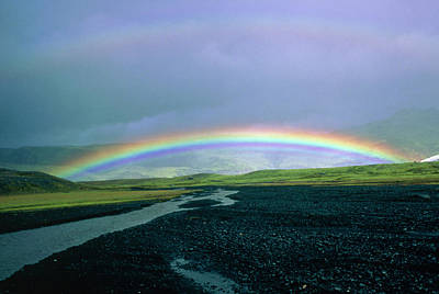 Double Rainbow Over Iceland Art Print by Simon Fraser/science Photo Library