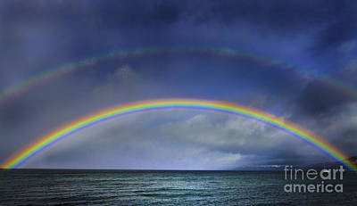 Farm Life Paintings Rob Moline - Double Rainbow Over Lake Tahoe by Mitch Shindelbower