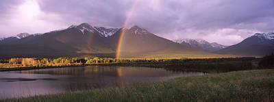 Double Rainbow Photograph - Double Rainbow Over Mountain Range by Panoramic Images