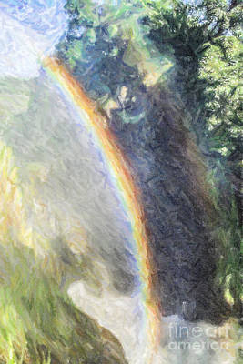 Digital Art - Double Rainbow Over Murchison Falls Waterfall Uganda Africa by Liz Leyden