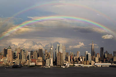 Double Rainbow Over Nyc Art Print by Susan Candelario