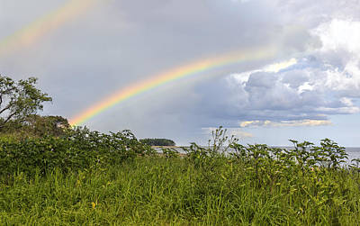 Photograph - Double Rainbow Sheffield Island by Marianne Campolongo