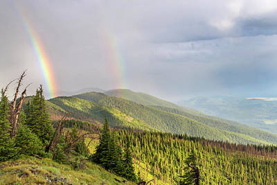 Double Rainbow Photograph - Double Rainbow Over The Whitefish Range by Chuck Haney