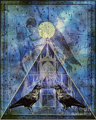 Double Raven Constellation Art Print by Judy Wood