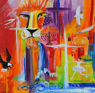 Lion Of Judah Painting - Double Restored by Paula Stacy Adams