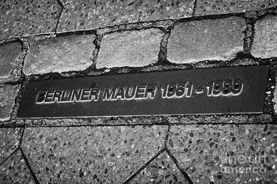 double row of bricks across berlin to mark the position of the berlin wall berliner mauer Berlin Germany Art Print by Joe Fox