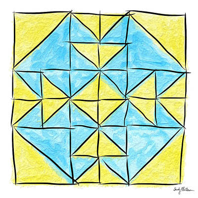 Block Quilts Painting - Double T In Yellow And Blue by Sandy MacGowan