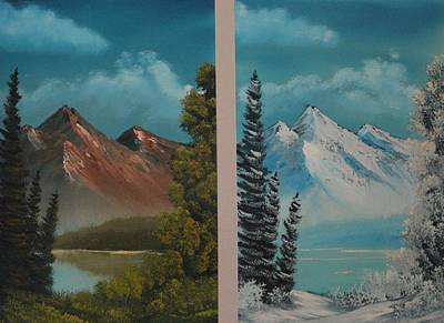 Bob Ross Painting - Double Take.......summer And Winter by Bob Williams