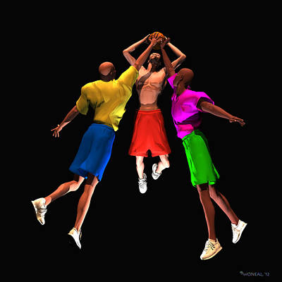 Double Teamed Art Print by Walter Oliver Neal