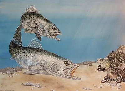 Trout Painting - Double Trouble by Sandra Williams