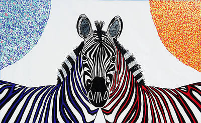 Painting - Double Zebra by Patrick OLeary