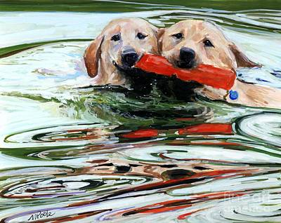 Yellow Labrador Retriever Painting - Doublemint by Molly Poole