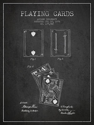 Dougherty Playing Cards Patent Drawing From 1876 - Dark Art Print