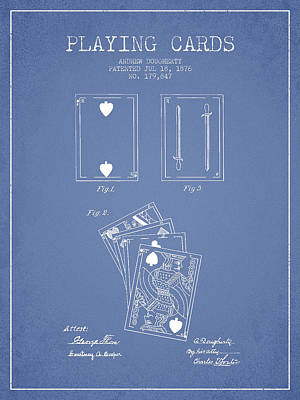 Digital Art - Dougherty Playing Cards Patent Drawing From 1876 - Light Blue by Aged Pixel