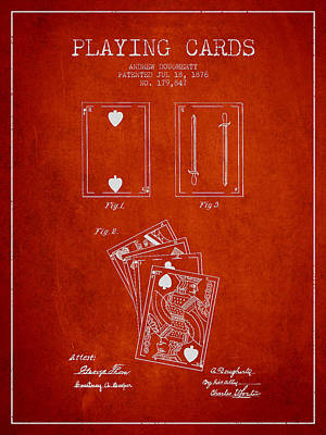 Dougherty Playing Cards Patent Drawing From 1876 - Red Art Print