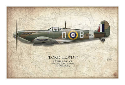 Spitfire Painting - Douglas Bader Spitfire - Map Background by Craig Tinder