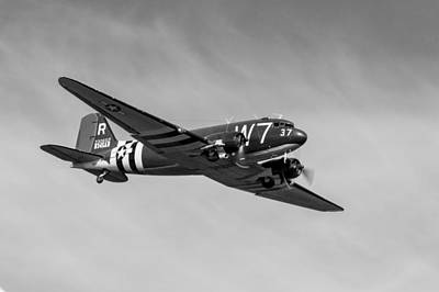 Photograph - Douglas C-47 Skytrain Whiskey 7 Black And White Version by Gary Eason