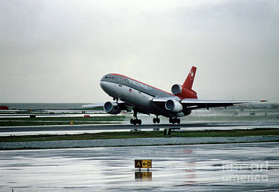 Douglas Dc-10-40 Taking Off In The Rain Art Print