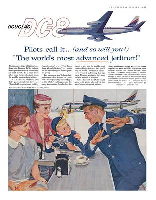Douglas Dc8 Saturday Evening Post Advertisement Art Print