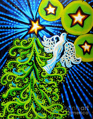 Painting - Dove And Christmas Tree by Genevieve Esson