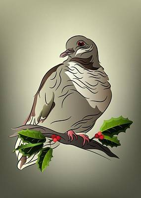 Digital Art - Dove On A Holly Branch by MM Anderson