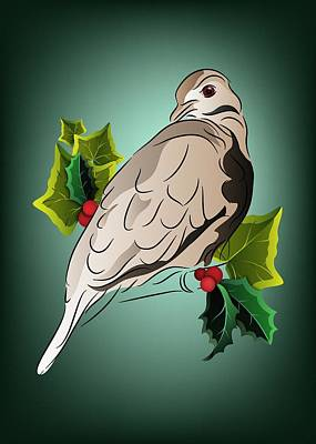 Digital Art - Dove With Ivy And Holly by MM Anderson