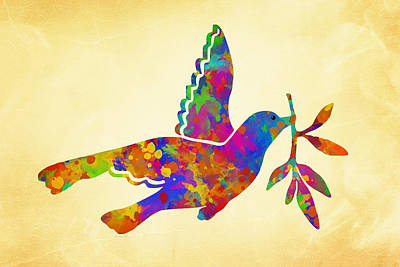 Birds Rights Managed Images - Dove With Olive Branch Royalty-Free Image by Christina Rollo