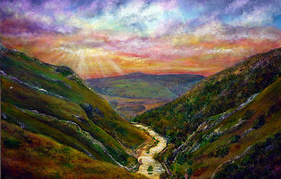 Acrylic Painting - Dovedale Sunset by Ann Marie Bone