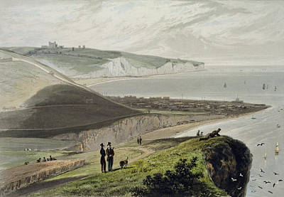 Coastal Landscape Drawing - Dover, From Shakespeares Cliff, From A by William Daniell