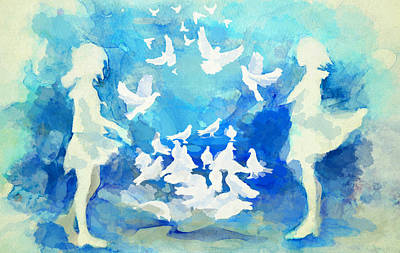 Painting - Doves  by Catf