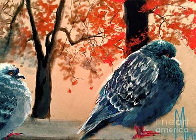 Art Print featuring the drawing Doves Drawing by Maja Sokolowska