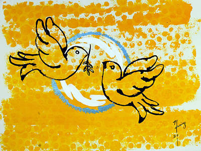 Painting - Doves Of Peace by Richard Sean Manning