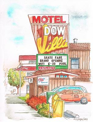 Dow Painting - Dow Villa Motel In Lone Pine - California by Carlos G Groppa