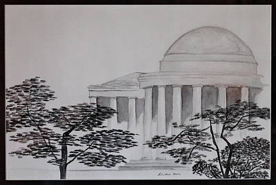 Jefferson Memorial Painting - Down At The Jefferson by Micaela Linton