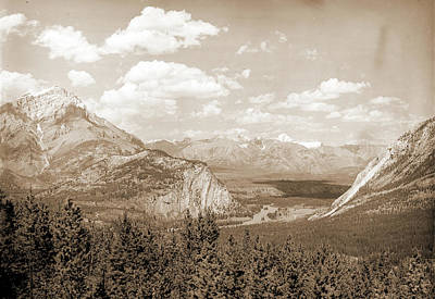 Alberta Drawing - Down Bow Valley From Upper Spring, Banff, Alberta, Valleys by Litz Collection