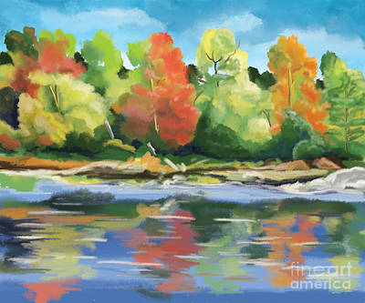 Turning Of The Leaves Painting - Down By The River by Tim Gilliland