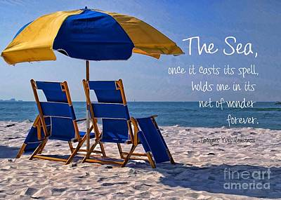 Seashore Quote Wall Art - Photograph - Down By The Seashore by Peggy Hughes