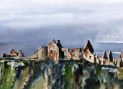 Mixed Media - Down  Dunluce Ruins by Val Byrne