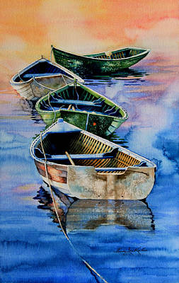 In A Row Painting - Down East Dories At Dawn by Hanne Lore Koehler