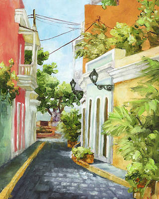 Puerto Rico Painting - Down From El Convento by Monica Linville