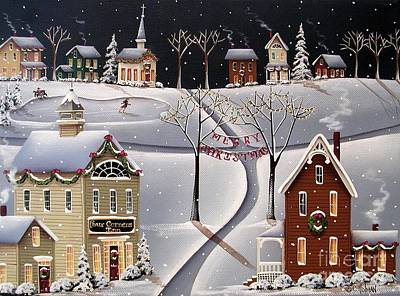 Skating Painting - Down Home Christmas by Catherine Holman