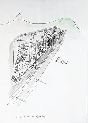 Guggenheim Drawing - Down In The Valley by Dietmar Scherf