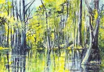 Wetlands Drawing - Down On The Bayou by Carol Wisniewski
