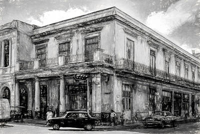 Photograph - Down On The Corner - Havana Bw Painterly - V4 by Les Palenik