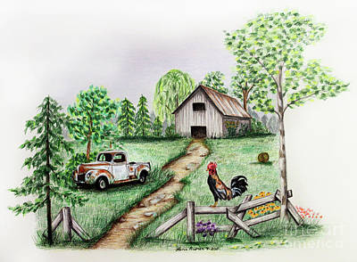 Fence Drawing - Down On The Farm by Lena Auxier