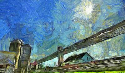 Midwest Mixed Media - Down On The Farm Van Gogh by Dan Sproul