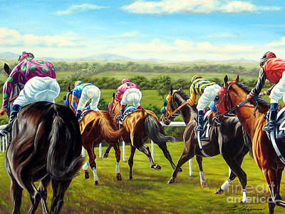 Brittish Painting - Down The Backside At Ascot by Tom Chapman