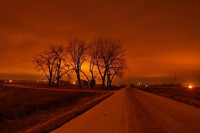 Gelid Photograph - Down The Haunting Road Under The Orange Sky by Jeff Swan