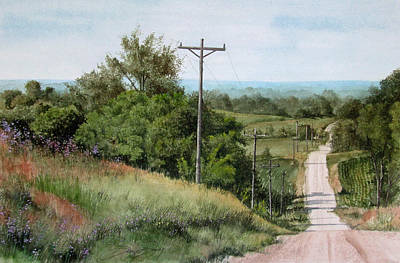 Gravel Road Painting - Down The Road by Denny Dowdy